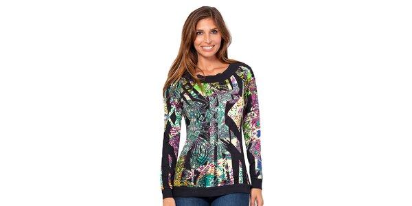 Dámske tričko s farebnou potlačou a dlhým rukávom Janis