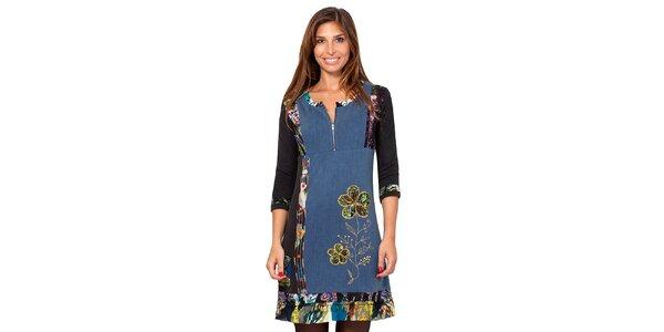 Dámske modré šaty s farebnými výšivkami Janis