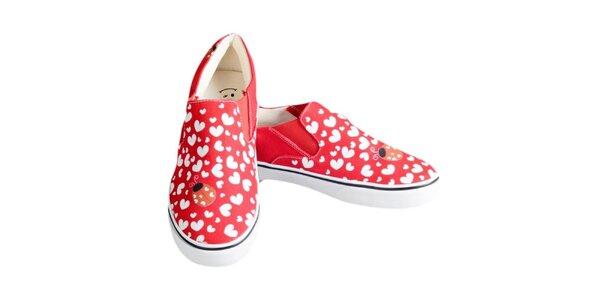 Dámske červené topánky so srdiečkami a lienkou The Bees