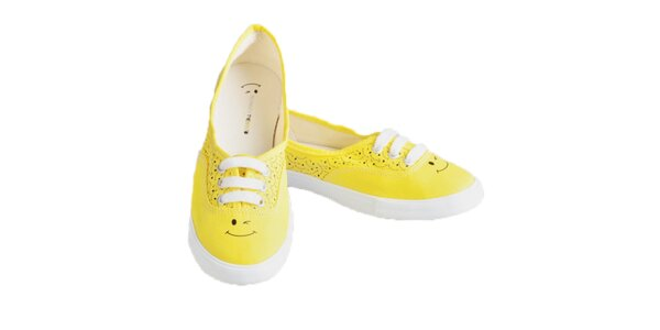 Dámske žlté tenisky so smajlíkmi The Bees