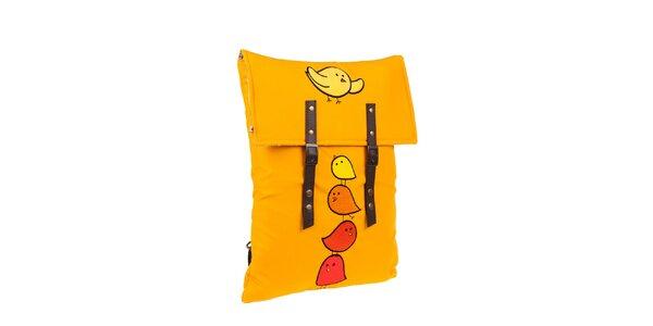 Sýto žltý batôžtek s vtáčikmi The Bees