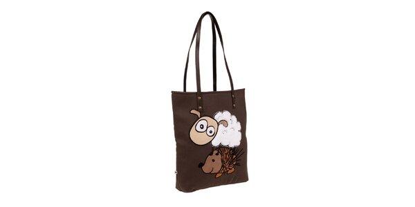 Hnedá taška s ovečkou a ježkom The Bees