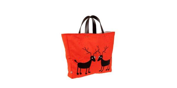 Červená taška s jeleňmi The Bees