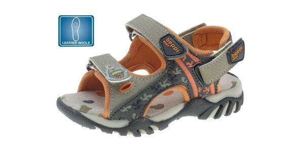 Detské šedo-oranžové kožené sandále Beppi