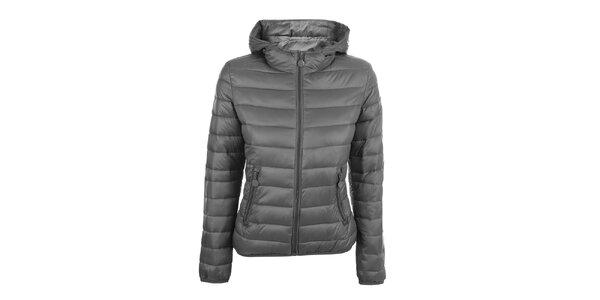 Dámska šedá prešívaná bunda s kapucňou DJ85°C