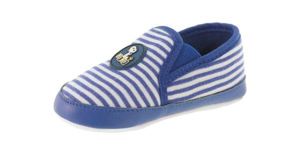 Detské modré prúžkované topánočky Beppi