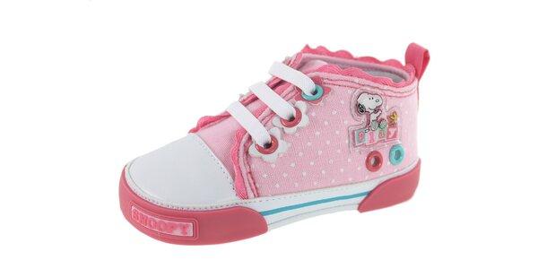 Detské ružové bodkované tenisky Beppi