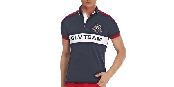 Pánske tmavo modré polo tričko s červenými prvkami Galvanni