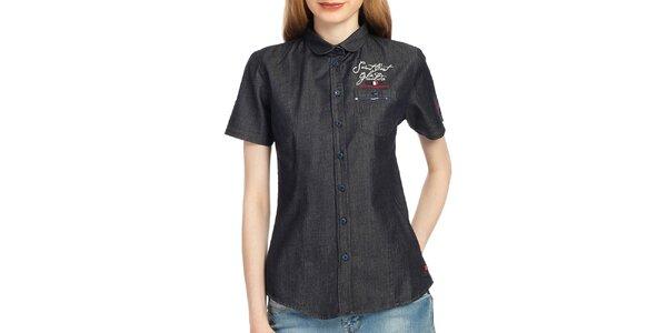 Dámska antracitová košeľa s krátkym rukávom Galvanni