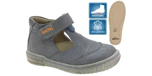 Detské šedé kožené topánky Beppi