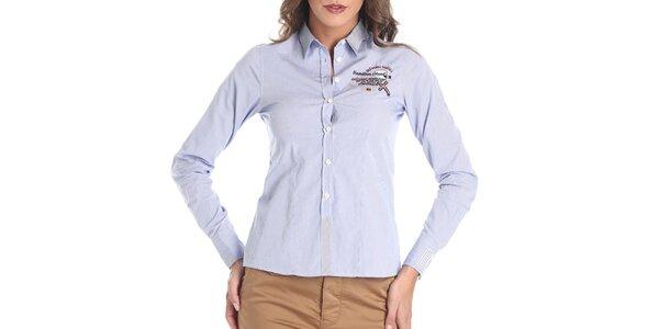 Dámska svetlo modrá košeľa s výšivkou Galvanni
