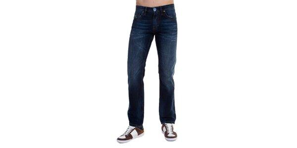 Pánske modré džínsy s šisovaním Galvanni