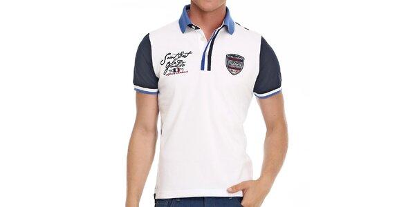 Pánske biele polo tričko s modrými prvkami Galvanni