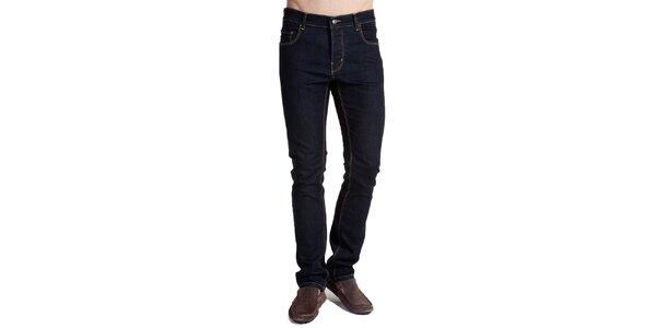 Pánske tmavo modré džínsy s výrazným prešívaním Galvanni