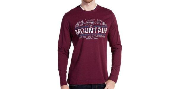Pánske vínové tričko s dlhým rukávom Galvanni