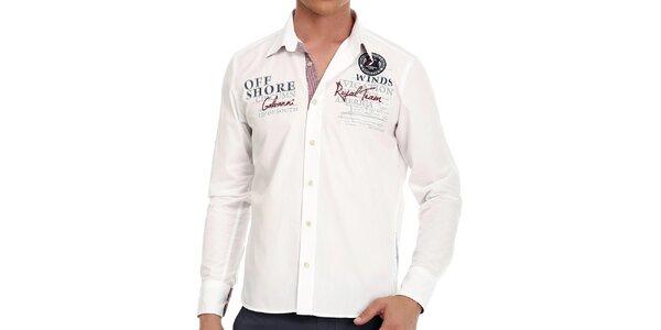 Pánska biela košeľa s výšivkou na chrbte Galvanni