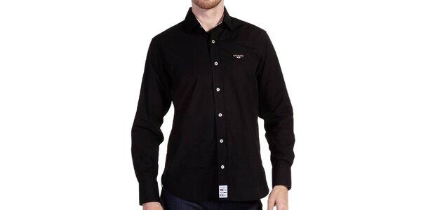 Pánska čierna košeľa na gombíky Galvanni
