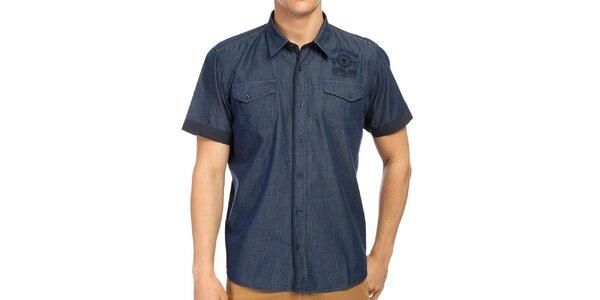 Pánska modrá košeľa s krátkym rukávom Galvanni
