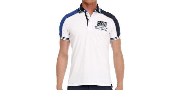 Pánske biele polo tričko s modrými detailmi Galvanni