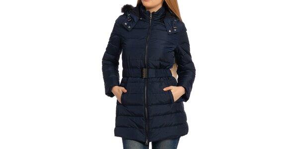 Dámsky tmavo modrý kabát s kožúškom Galvanni