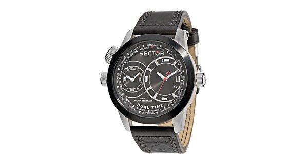 Pánske čierne oversized hodinky Sector