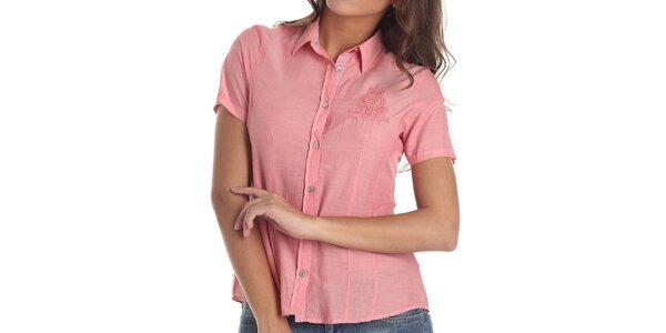 Dámska košeľa s výšivkou v korálovej farbe Galvanni