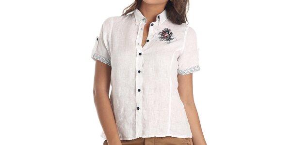 Dámska biela košeľa s krátkym rukávom Galvanni
