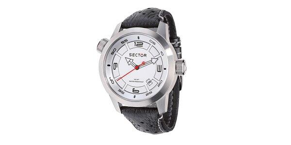 Pánske oversized hodinky Sector s čiernym koženým remienkom