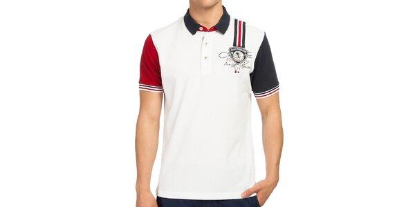 Pánske biele polo tričko s kontrastnými rukávmi Galvanni