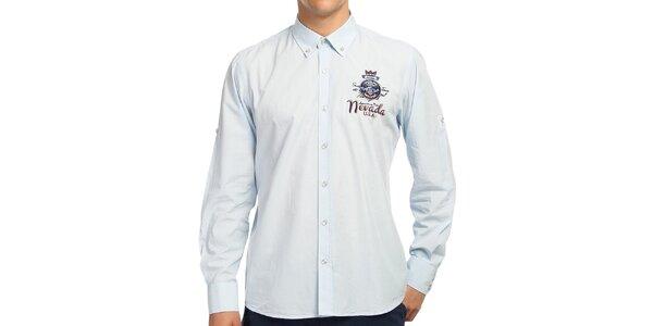 Pánska svetlo modrá košeľa s farebnými detailmi Galvanni