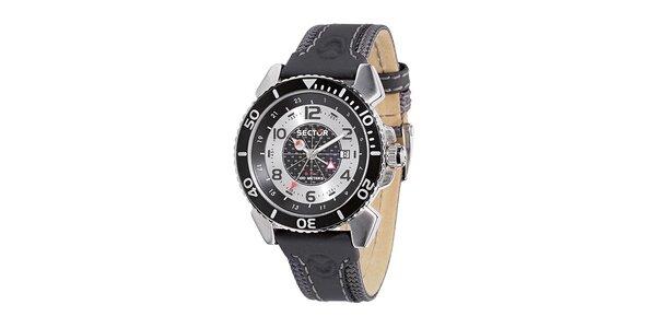 Pánske čierno-strieborné oceľové hodinky Sector s koženým remienkom