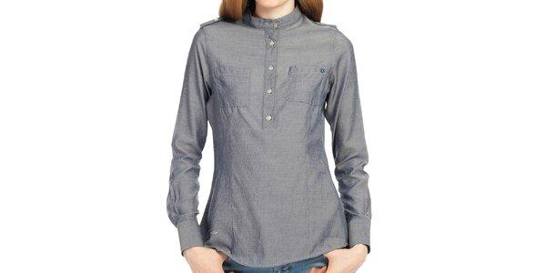 Dámska modrá košeľa s polovičným zapínaním Galvanni