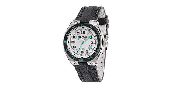 Pánske oceľové hodinky Sector s čiernym koženým remienkom