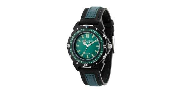 Tyrkysovo-modré oceľové hodinky Sector s koženým remienkom