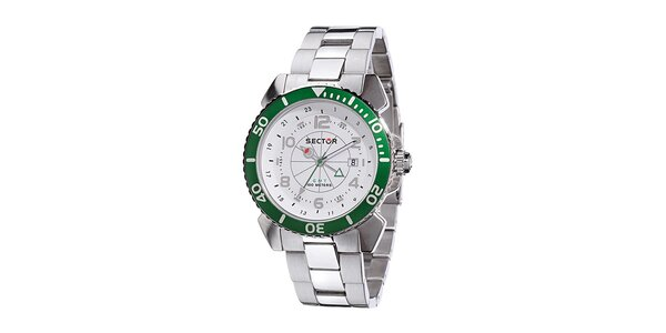 Pánske oceľové hodinky Sector so zeleným detailom
