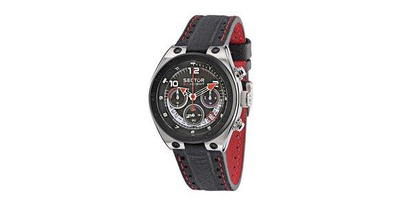 Pánske čierne oceľové hodinky Sector s čierno-červeným koženým remienkom