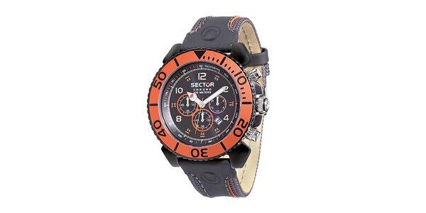 Pánske čierno-oranžové hodinky Sector s koženým remienkom