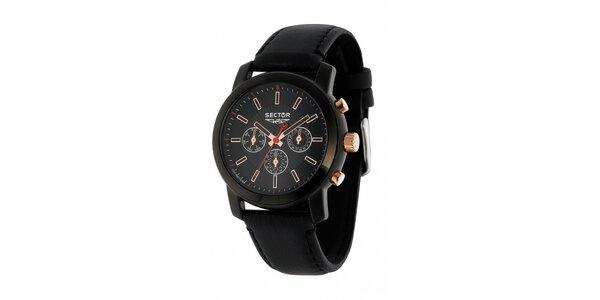 Pánske čierne oceľové hodinky Sector s koženým remienkom a zlatými detailami