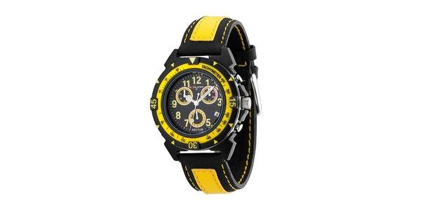 Čierno-žlté oceľové hodinky Sector s koženým remienkom