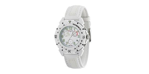 Biele oceľové hodinky Sector s koženým remienkom