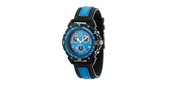 Pánske čierno-modré oceľové hodinky Sector s koženým remienkom