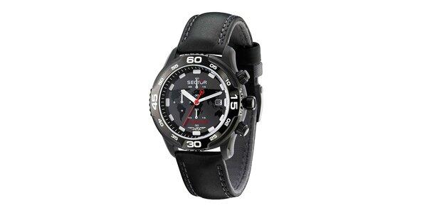 Pánske čierne náramkové hodinky Sector s koženým remienkom