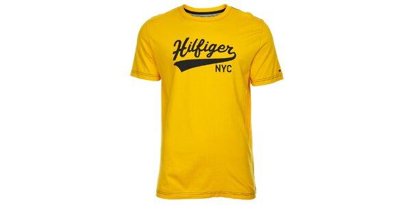 Pánske žlté tričko Tommy Hilfiger s potlačou