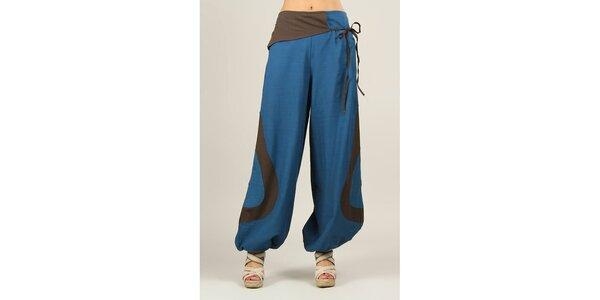 Dámske modré voľné nohavice s hnedými prvkami Ziva