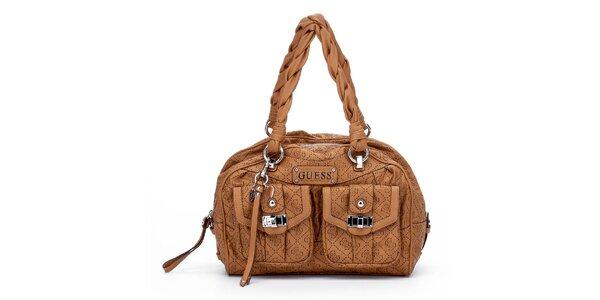 Dámska orieškovo hnedá kabelka Guess s dvomi vreckami