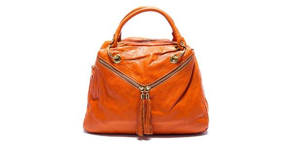 Dámska koňaková kožená kabelka so šikmými zipsami Renata Corsi