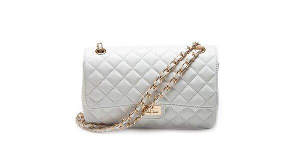 Dámska biela prešívaná kabelka s retiazkou Carla Ferreri