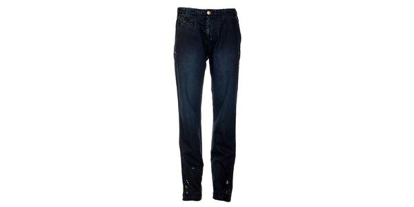 Pánske tmavo modré nohavice Tommy Hilfiger s potlačou