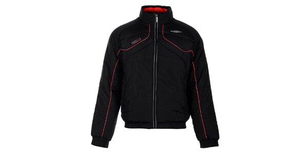 Pánska čierna zimná prešívaná bunda Umbro s červenými detailami