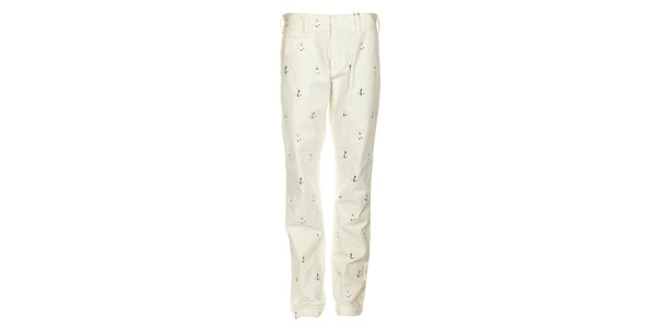 Pánske biele nohavice Tommy Hilfiger s potlačou